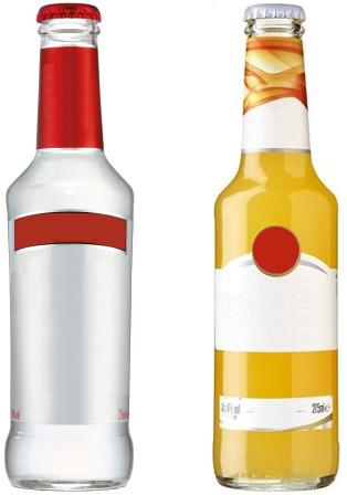 Alcopopflaschen ohne Branding. Smirnoff und Bacardi.